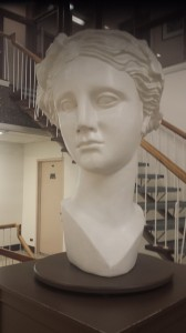 Large, student-created statue, seen in the Library at Bishop's University (our conference sponsor).