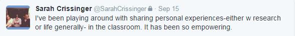 sharing experience tweet