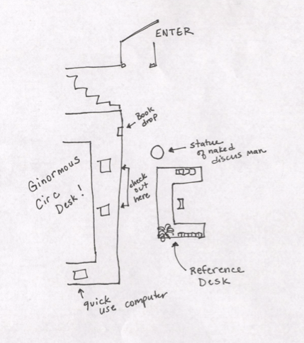 floorplan drawing of the SMCM Library's reference desk and circulation desk