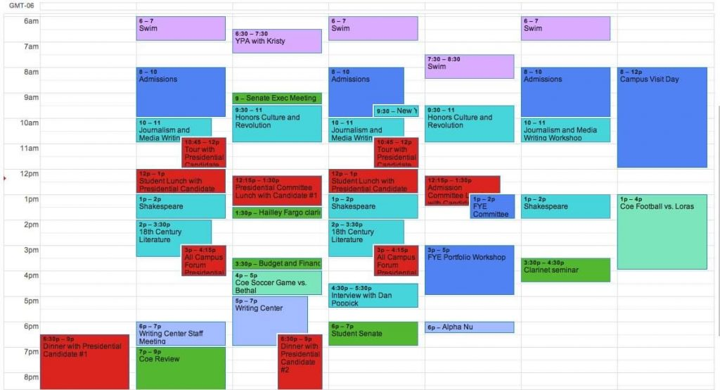 A screenshot of a Google calendar, with many appointments, from 6 AM in the morning until 9 PM at night.